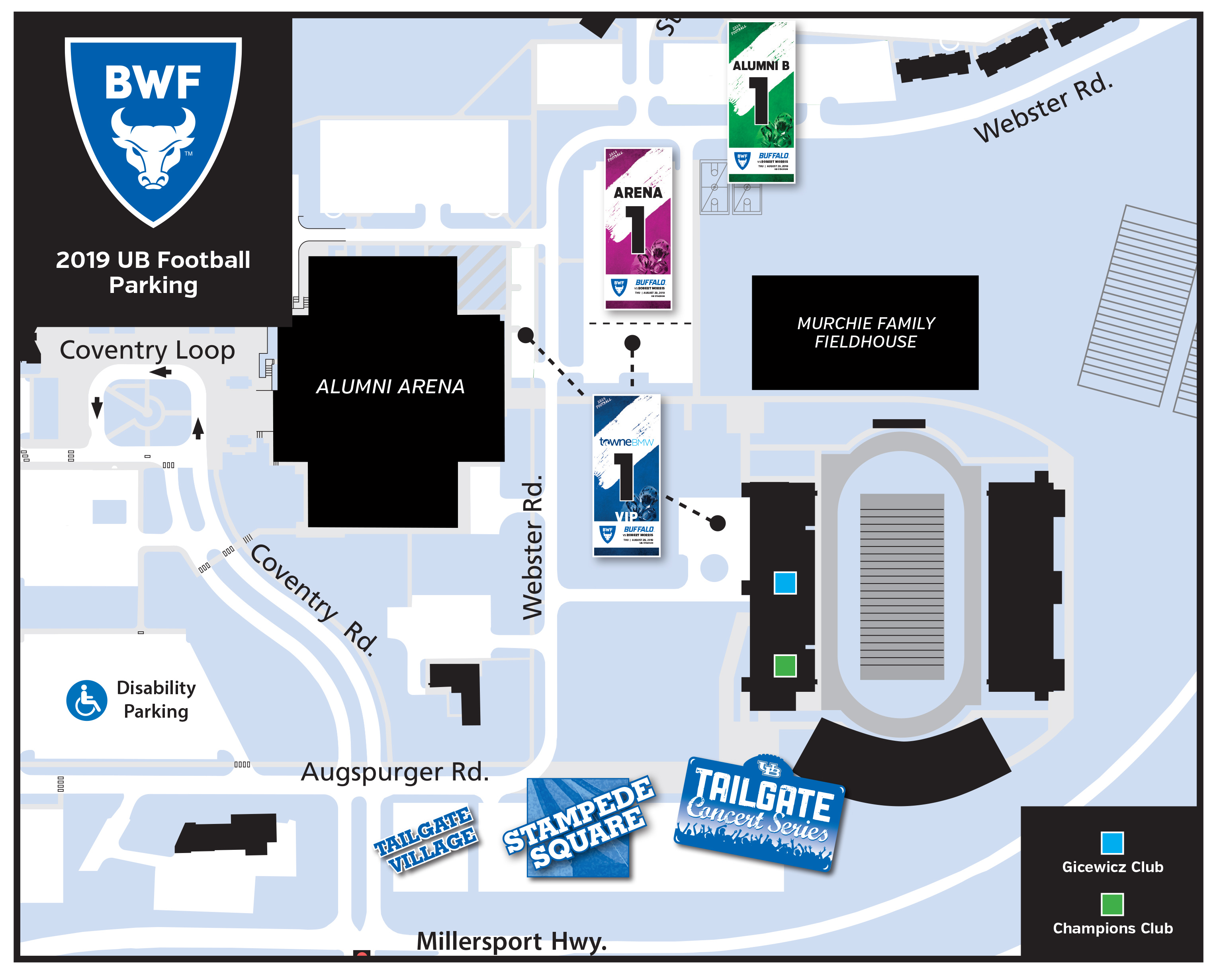 2019 UB Football Parking Map