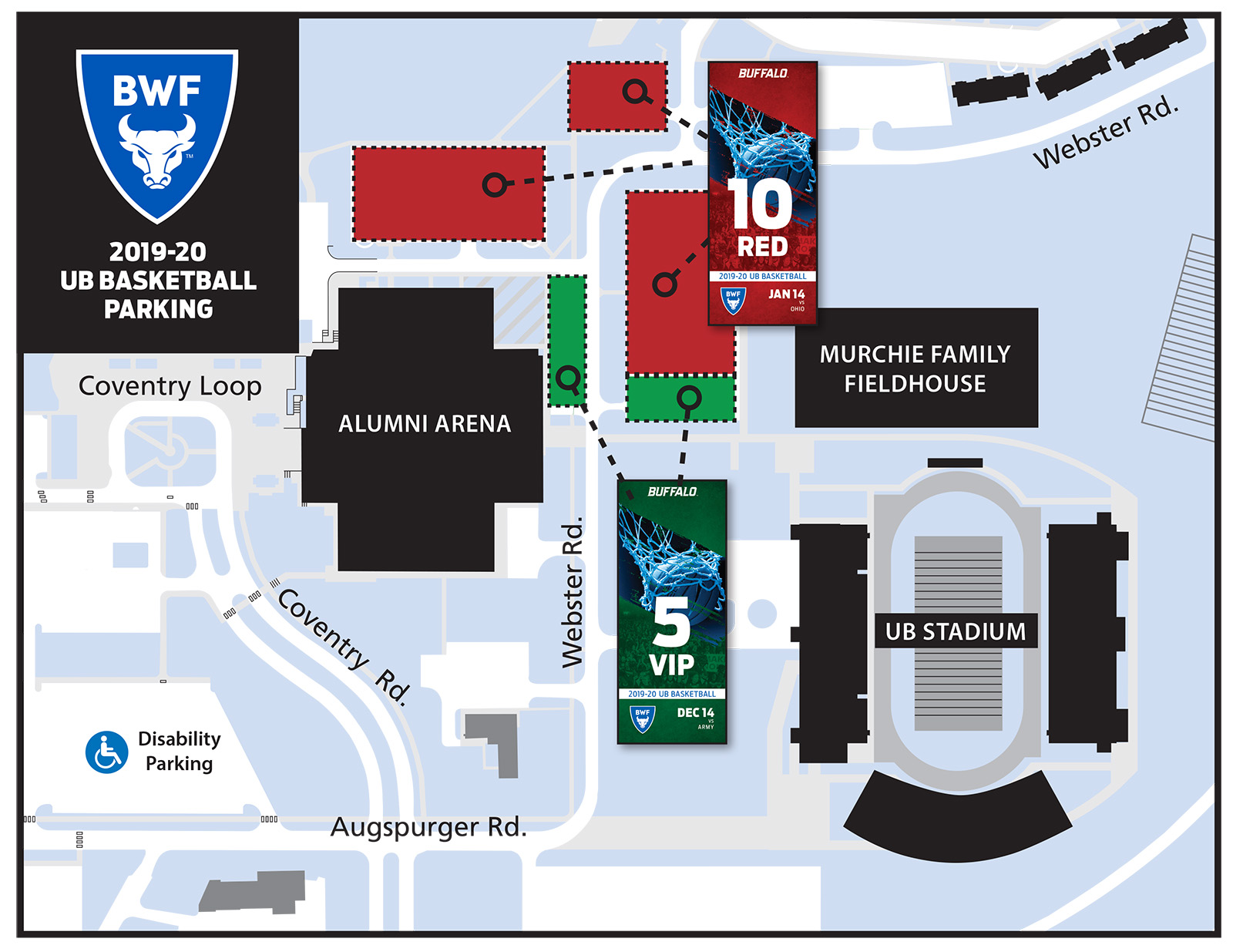 2019-20 Basketball Parking Map